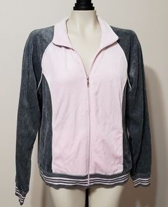 Pink and gray velour zip up jacket, large